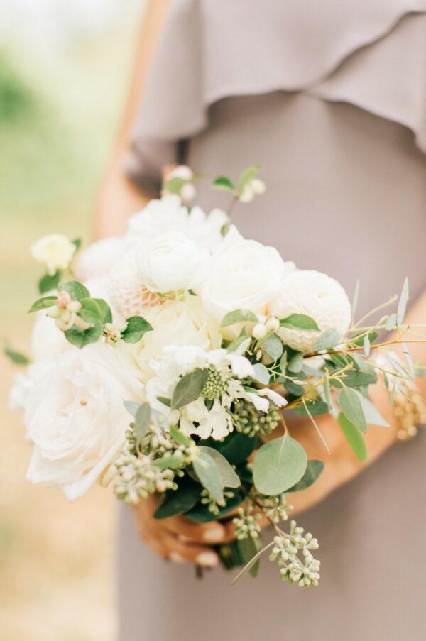 ceci bridesmaids white bouquet
