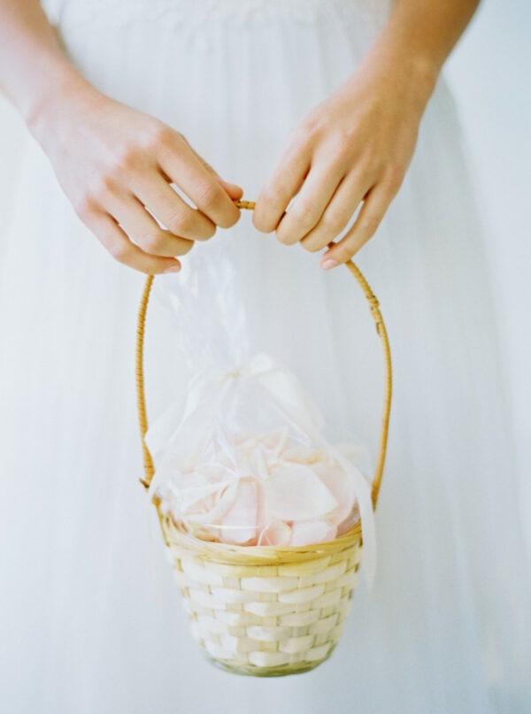 flower girl basket with rose petals